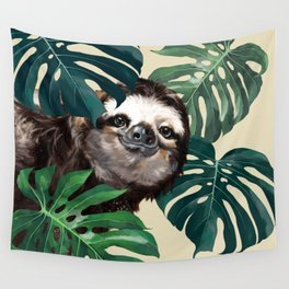 Sneaky Sloth with Monstera Wall Tapestry