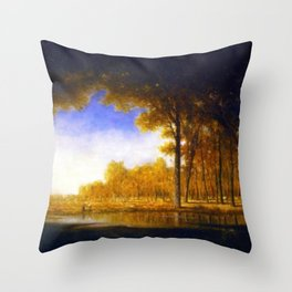 Autumn in the French Countryside, Fontainebleauu Forest landscape painting by Gilbert Munger Throw Pillow