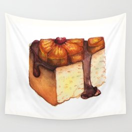 Pineapple Upside-Down Cake Slice Wall Tapestry