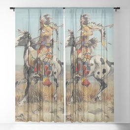 """Dakota Chief"" by Charles M Russell Sheer Curtain"