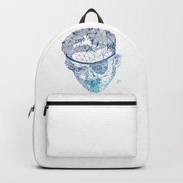 James Joyce - Hand-drawn Geometric Art Print - Blue Gradient Backpack