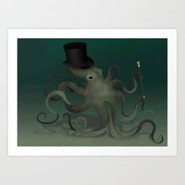 Octopus with a top hat Art Print