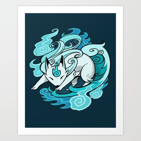 Ghostfire Fox Art Print