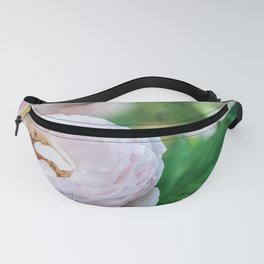 Busy bee in a rose garden Fanny Pack