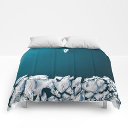 Minimalist Ice Bergs in the blue Ocean - Aerial Photography Comforters