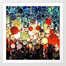 Contemporary Blue Orange Bubble Abstract Art Print