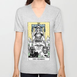 Geometric Tarot Print - The Chariot Unisex V-Neck