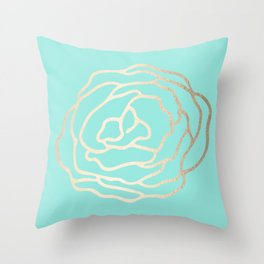 Flower in White Gold Sands on Tropical Sea Blue Throw Pillow