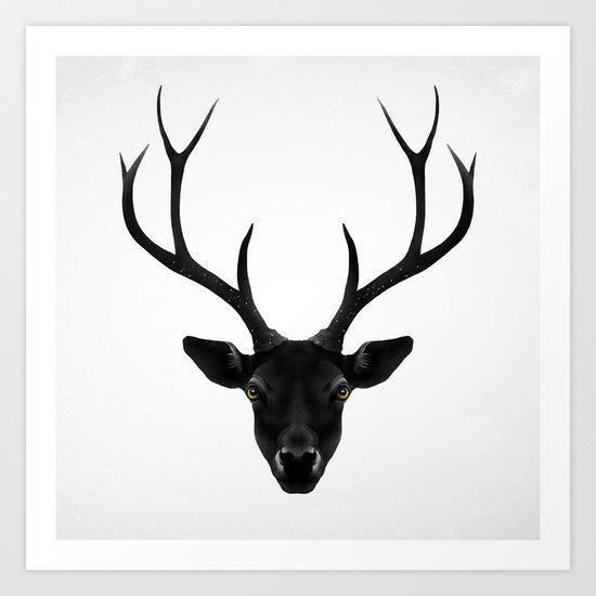 The Black Deer Art Print