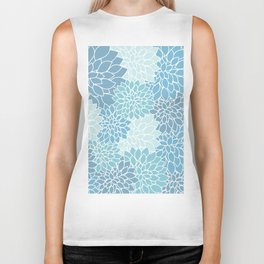 Muted Teal Dahlias Biker Tank