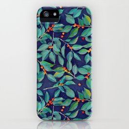 Leaves + Berries in Navy Blue, Teal & Tangerine iPhone Case