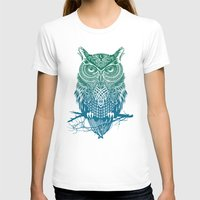 owls T-shirts featuring Warrior Owl by Rachel Caldwell