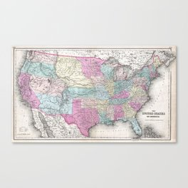 1857 Colton Map of the United States of America Canvas Print