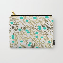 Gold & Turquoise Olive Branches Carry-All Pouch