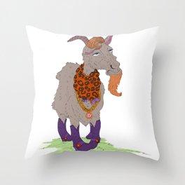 Mr. Gaudy Goat Throw Pillow