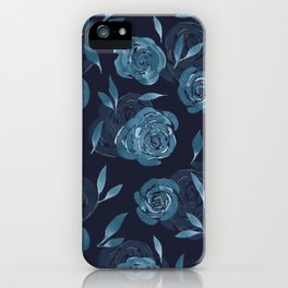 Icy Blue Watercolor Roses iPhone Case