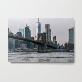 Cloudy Daylight Brooklyn Bridge and The FDR Drive Metal Print