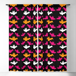 Orange, Pink, and White Halloween Bat Pattern Blackout Curtain