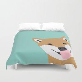 Shiba Inu Peek - cute shiba doge peeking funny dog art print mint turquoise customizable dog gift Duvet Cover