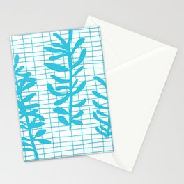 Grid Sprig - aqua blue Stationery Cards