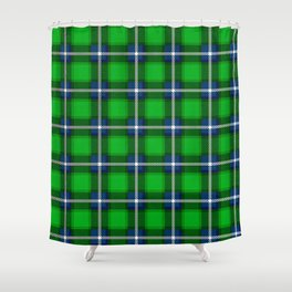 Scottish Tartan Blue and Green Shower Curtain