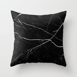 Black marble abstract texture pattern Throw Pillow