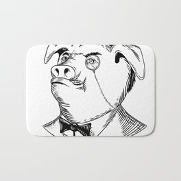Aristocratic Pig Monocle Black and White Drawing Bath Mat