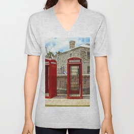Red Phone Booths In Bermuda Unisex V-Neck