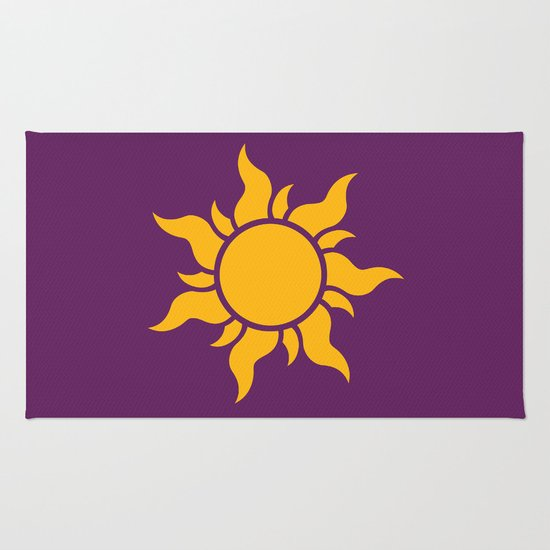Tangled Rapunzel Sun Logo Corona Symbol Rug By Teo Hoble