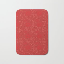 Bright ruby red fancy abstract love style pattern with fine golden hearts and bubbles Bath Mat
