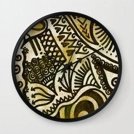Golden Zentangle Wall Clock