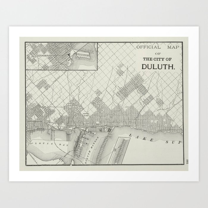 Vintage Map of Duluth MN (1901) Art Print by vuramedia | Society6 on