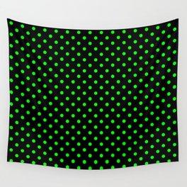 Polka dots Green dots over black Wall Tapestry