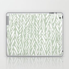 Light green herringbone pattern with cream stripes Laptop & iPad Skin