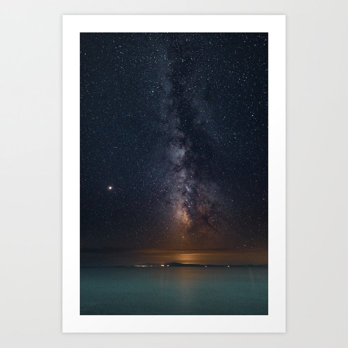 photograph regarding Starry Night Printable named Milky Course Galaxy Poster, Star Electronic Print, Evening Sky Pictures, Starry Sky Printable, Greece Artwork Print through pueblovista