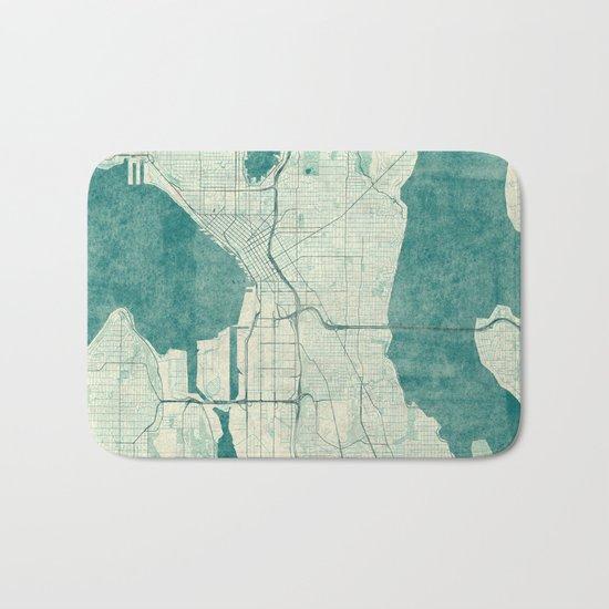 Seattle Map Blue Vintage Bath Mat