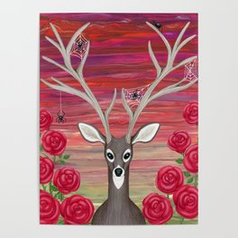 white tailed deer, spiders, roses Poster