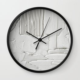 Relief [3]: an abstract, textured piece in white by Alyssa Hamilton Art  Wall Clock