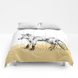 Fox black & white illustration Comforters