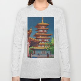 Japanese Woodblock Print Vintage Asian Art Colorful woodblock prints Pagoda Shinto Shrine Long Sleeve T-shirt