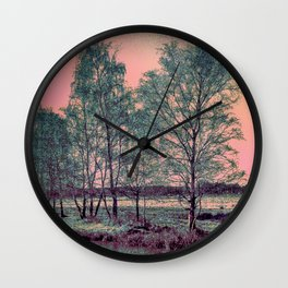Abstract Winter Landscape, Sun and Birch Trees Wall Clock