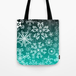 Symbols in Snowflakes on Winter Green Tote Bag