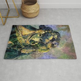 Fine art watercolor painting of elaborately dressed masked person during Carnival in Venice, Italy Rug