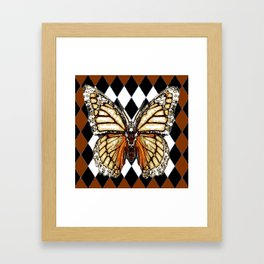 BLACK HARLEQUIN PATTERNED BROWN-WHITE  BUTTERFLY Framed Art Print