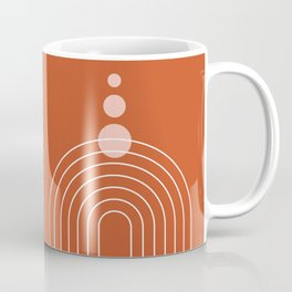 Mid Century Modern Geometric 68 (Rainbow Abstraction, in Terracotta Rose Gold) Coffee Mug