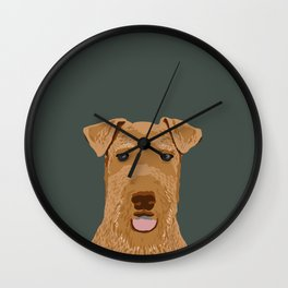 Airedale Terrier cute pet portrait dog art customizable dog breeds animal fur baby illustration dogs Wall Clock