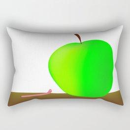 Worm And Big Apple Rectangular Pillow