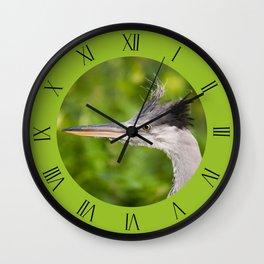 Young orphaned Ardea cinerea clock Wall Clock