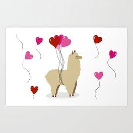 Valentine's Alpaca Art Print