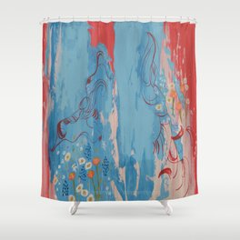 Red and Blue Abstract Flower Field Painting by Jodi Tomer. Shower Curtain